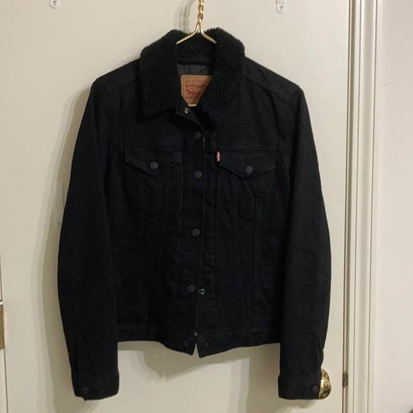 Levi's Fitted Denim Jacket Fuzz Collar True Black